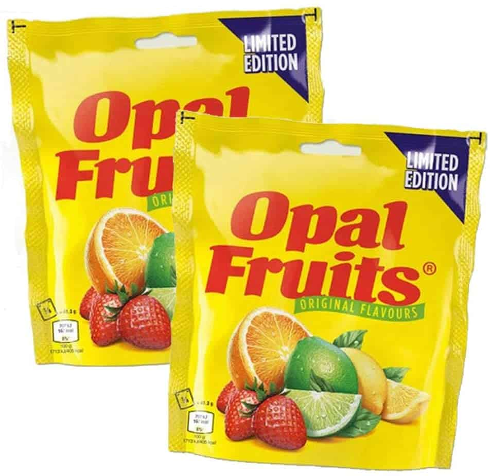 A photo of 2 packets of Opal Fruits on a white background.
