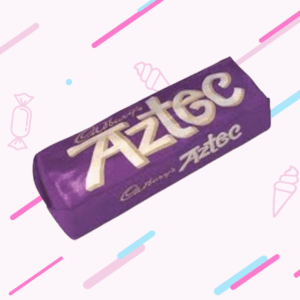 Cadburys Aztec Bar with a white background with pink and blue, diagonal stripes and some graphics of sweets and ice creams.