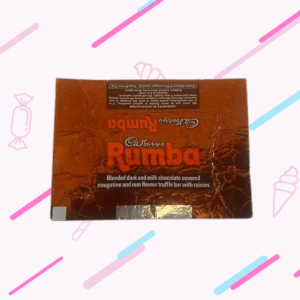 Cadbury Rumba chocolate Bar with a white background with pink and blue, diagonal stripes and some graphics of sweets and ice creams.